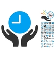Clock Care Hands Icon With 2017 Year Bonus vector image vector image