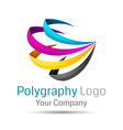 CMYK logo Can be used in business connected vector image