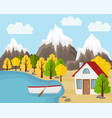 country house with the boat near the pond vector image