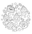 cute kawaii dessert vector image