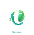 ecology lowercase letter t logo overlapping vector image vector image