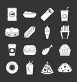 fast food icons set grey vector image vector image