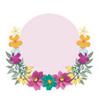 flowers round frame vector image vector image