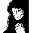 Girl with Black Hair Lineart vector image vector image