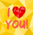 I love you heart with yellow background vector image vector image
