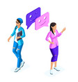 isometrics young girls communicate in social netwo vector image vector image