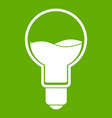 light bulb with blue water inside icon green vector image vector image