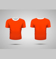 mockup of blank red realistic sport t-shirt with vector image vector image