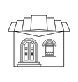 One storey house with roof icon outline style vector image vector image