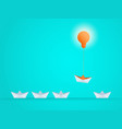 outstanding the boat rises above with light bulb vector image vector image