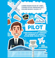 pilot vacancy skillful aviator recruitment poster vector image vector image