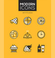 pizza - set line design style icons vector image vector image