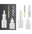 realistic medicine drop bottles dropper ampule vector image