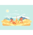Sand castle on beach vector image vector image