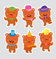 set of bears funny cartoon dancing bears in hats vector image vector image