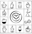 Set of freehand doodle sketch coffee icons vector image vector image