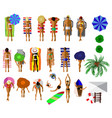 set of people on the summer beach vector image vector image