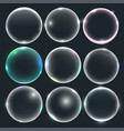 set water or soap bubbles vector image