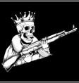 skull king handling gun vector image vector image