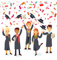 smiling graduates and colorful confetti rain vector image vector image