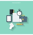 Study flat background with papersTemwork concept vector image vector image