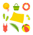 summer beach set hat bag vector image