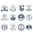 Tailor shop black labels icons set vector image vector image