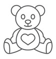 teddy bear thin line icon child and toy vector image