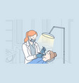 teeth examination and dentistry checkup concept vector image