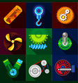 type of mechanism icons set flat style vector image vector image
