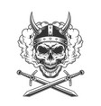 viking skull in smoke cloud vector image