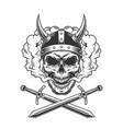 viking skull in smoke cloud vector image vector image