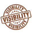 visibility brown grunge stamp vector image vector image