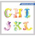 Watercolor Alphabet - ABC Painted Letters G-L vector image