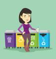 woman throwing away plastic bottle vector image vector image
