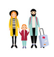 young traveling family mother father and vector image