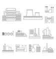 factory and facilities outline icons in set vector image