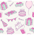 Doodle birthday party seamless pattern vector image