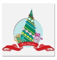 card with Christmas tree and gifts vector image