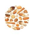 Food bread rye wheat whole grain bagel sliced vector image