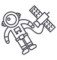 spaceman in space with spaceship line icon vector image
