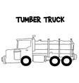 Tumber truck with hand draw vector image