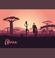 african men and women against sunset vector image vector image