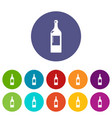 alcohol bottle icons set color vector image vector image