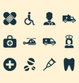 antibiotic icons set collection of bus copter vector image vector image