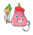 artist rose apple character cartoon vector image