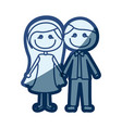blue silhouette of caricature couple in formal vector image vector image