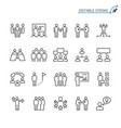 business people line icons editable stroke vector image vector image