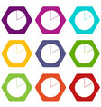 business pie chart icon set color hexahedron vector image vector image