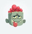 cartoon zombie head showing tongue vector image vector image